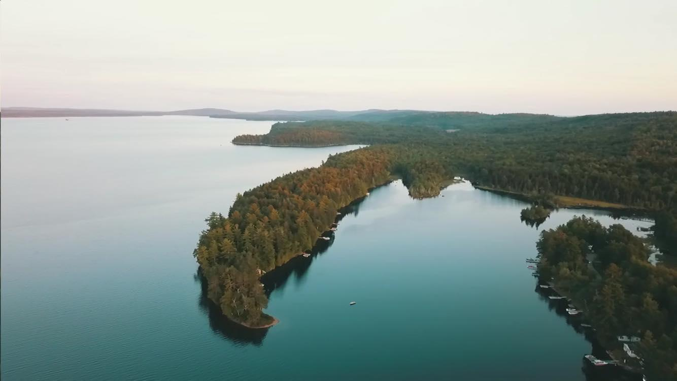 drone shot of lake
