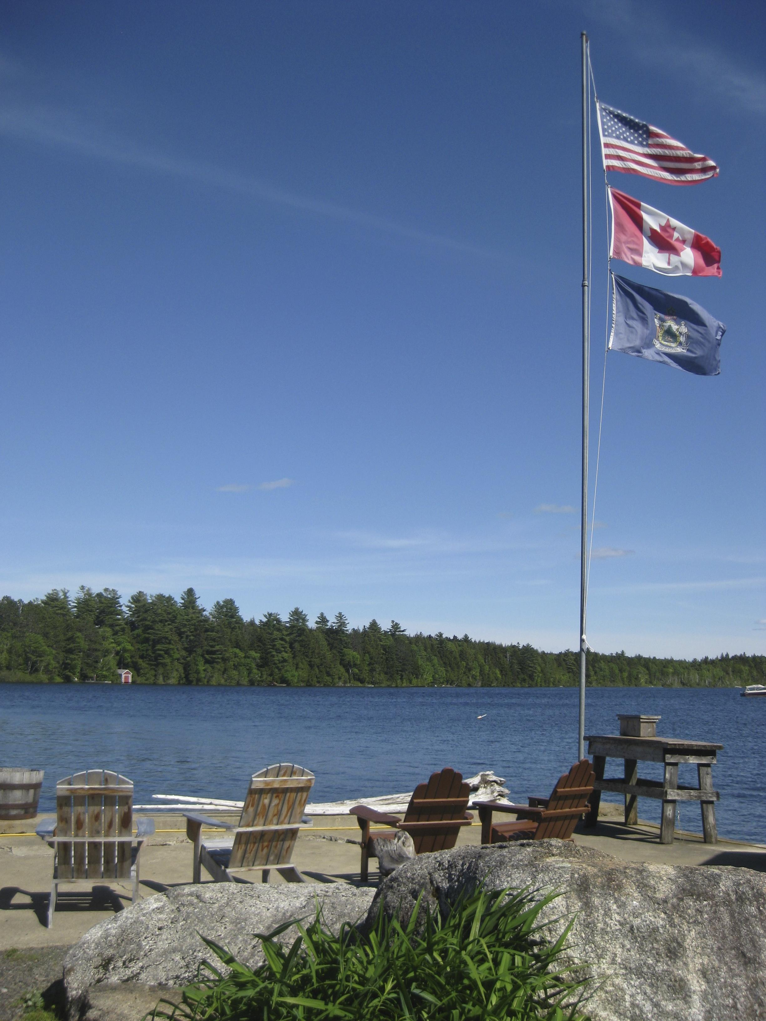 Maine, Unied States, and Canadian Flags